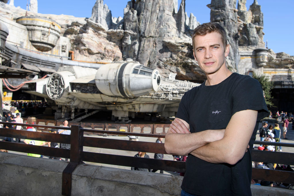Hayden Christensen in front of the Millennium Falcon: Smugglers Run ride in Star Wars: Galaxy's Edge at Disneyland Park on October 29, 2019.