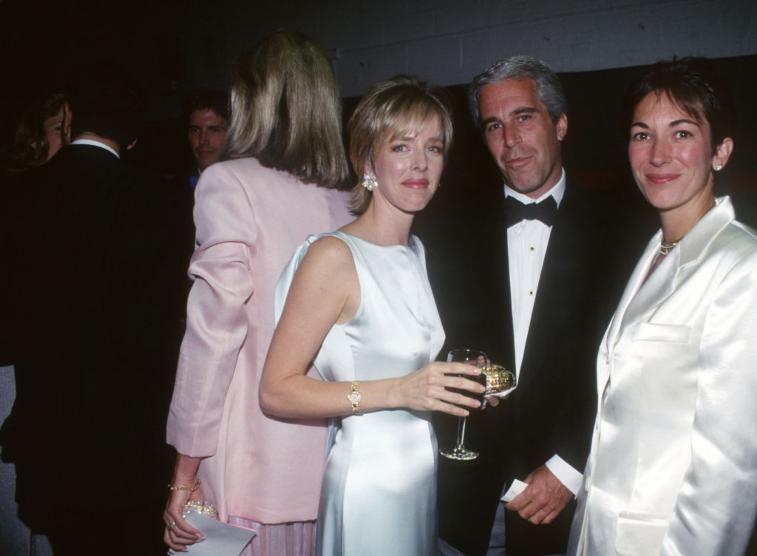 Jeffrey Epstein with Ghislaine Maxwell and Carol Mack