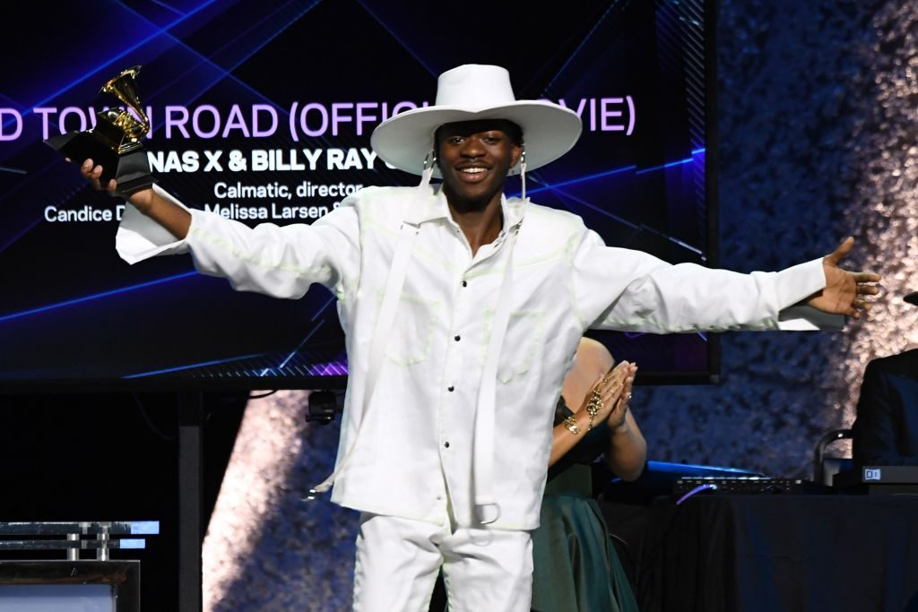 Lil Nas X arrives to accept the award for Best Music Video for 'Old Town Road' during the 62nd Annual Grammy Awards pre-telecast show on January 26, 2020