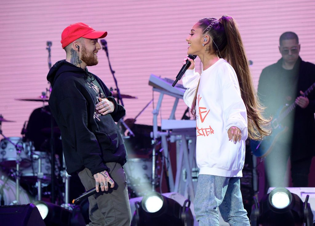 Mac Miller (L) and Ariana Grande perform onstage on June 4, 2017