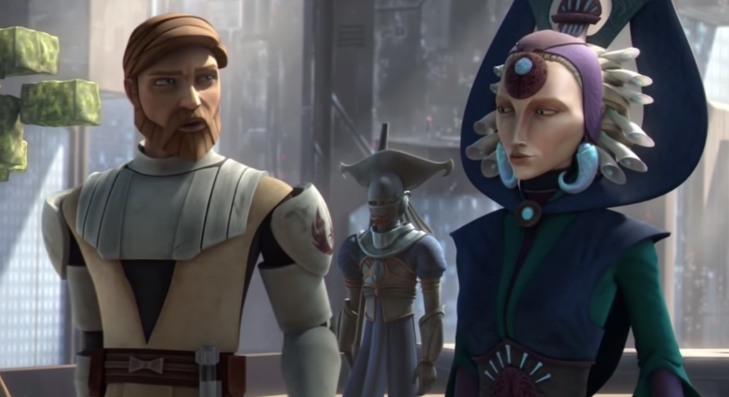 Obi-Wan Kenobi and Duchess Satine talk on Mandalore, Season 2, Episode 12.