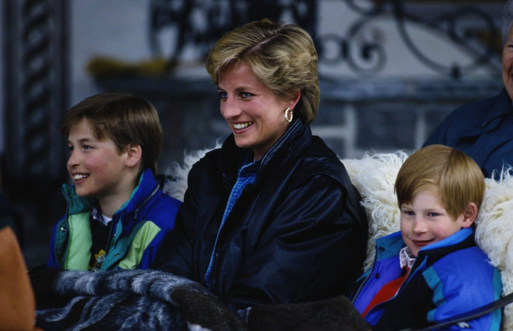 Princess Diana with her sons Prince William and Prince Harry on a skiing holiday in Lech, Austria