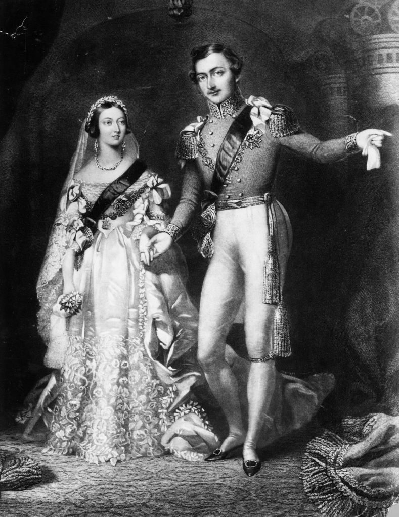 Queen Victoria and Prince Albert on their royal wedding day