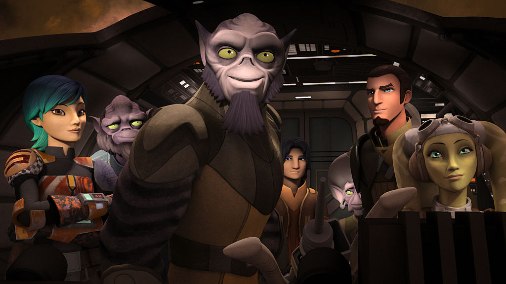 """The crew of Ghost in 'Star Wars Rebels' Episode """"Legends of Lasat."""""""