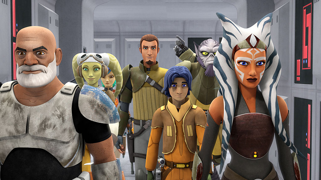 """The crew of Ghost and Ahsoka in the episode """"Relics of the Old Republic"""" in Season 2."""