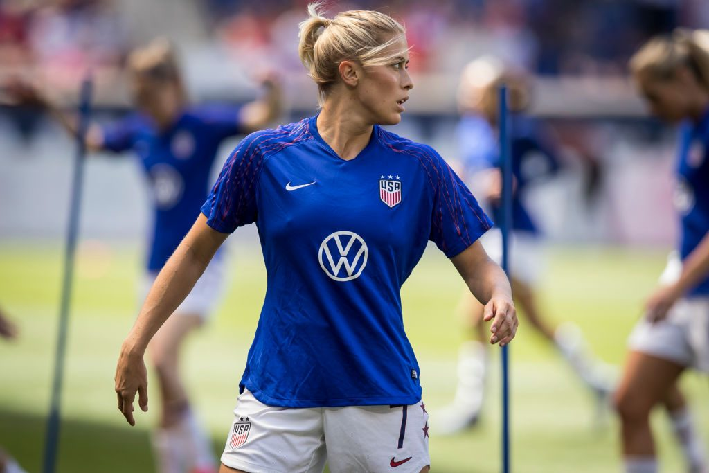 Abby Dahlkemper #7 of Unites States as she warms up at the start of the International Friendly match the U.S. Women's National Team