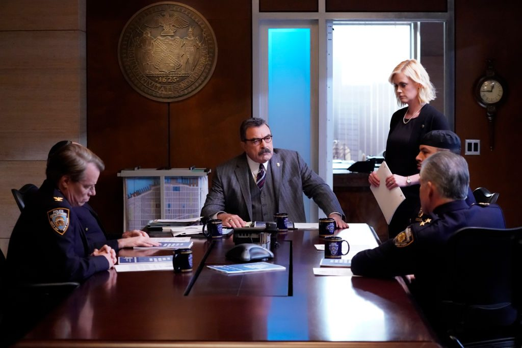 Tom Selleck and Abigail Hawk on the set of Blue Bloods |  John Paul Filo/CBS via Getty Images