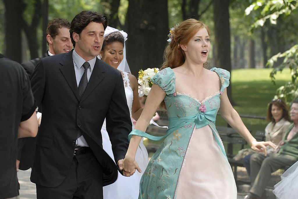"""Actors Patrick Dempsey and Amy Adams appear on set of Walt Disney Pictures """"Enchanted"""""""