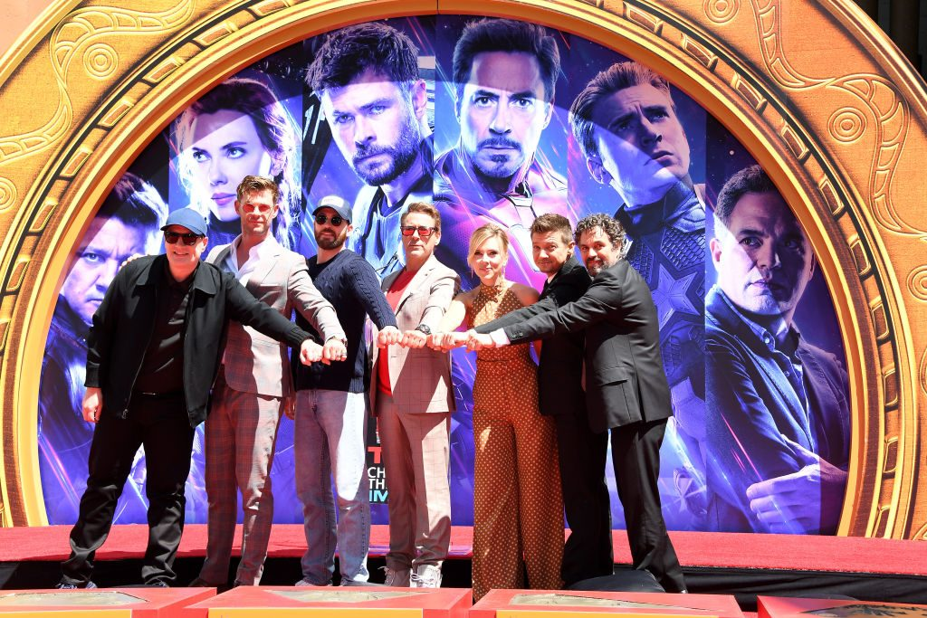 Avengers cast making fists and putting them together, like a half power circle