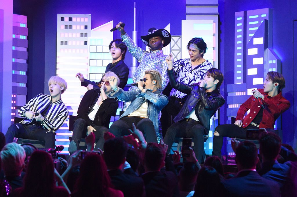 Lil Nas X, Billy Ray Cyrus and BTS perform during the 62nd Annual GRAMMY Awards