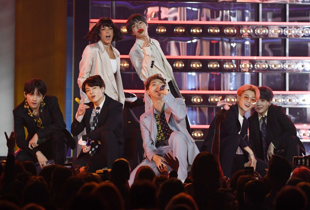 Halsey and BTS perform during the 2019 Billboard Music Awards