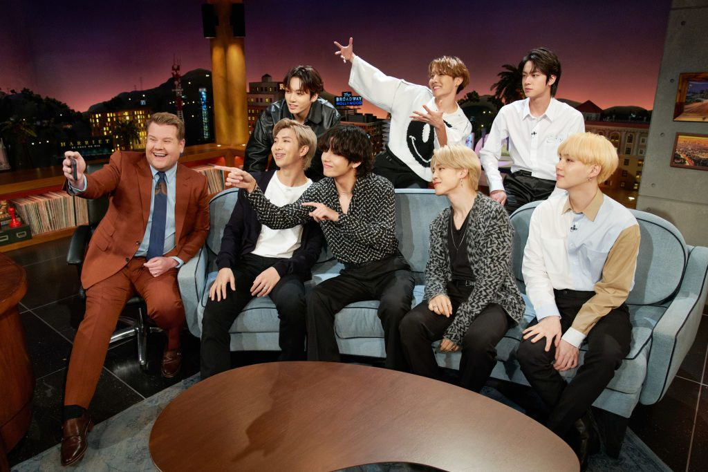 The Late Late Show with James Corden airing Tuesday, January 28, 2020, with guests Cynthia Erivo, Ashton Kutcher, and BTS.