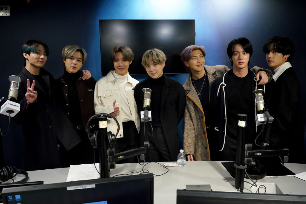 BTS visits the SiriusXM Studios on February 21, 2020 in New York City.