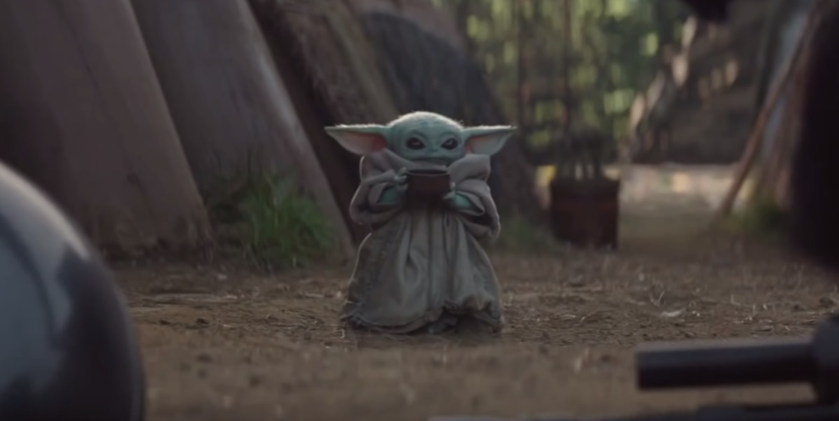 Baby Yoda sips on some soup in 'The Mandalorian.'
