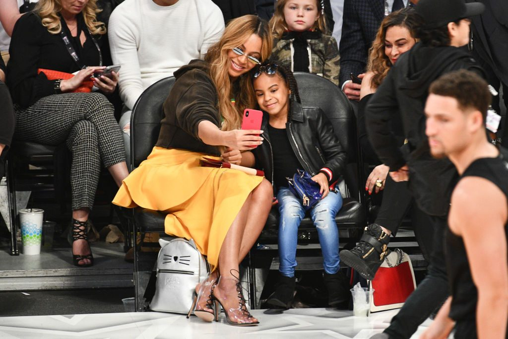 Beyoncé and Blue Ivy Carter attend The 67th NBA All-Star Game