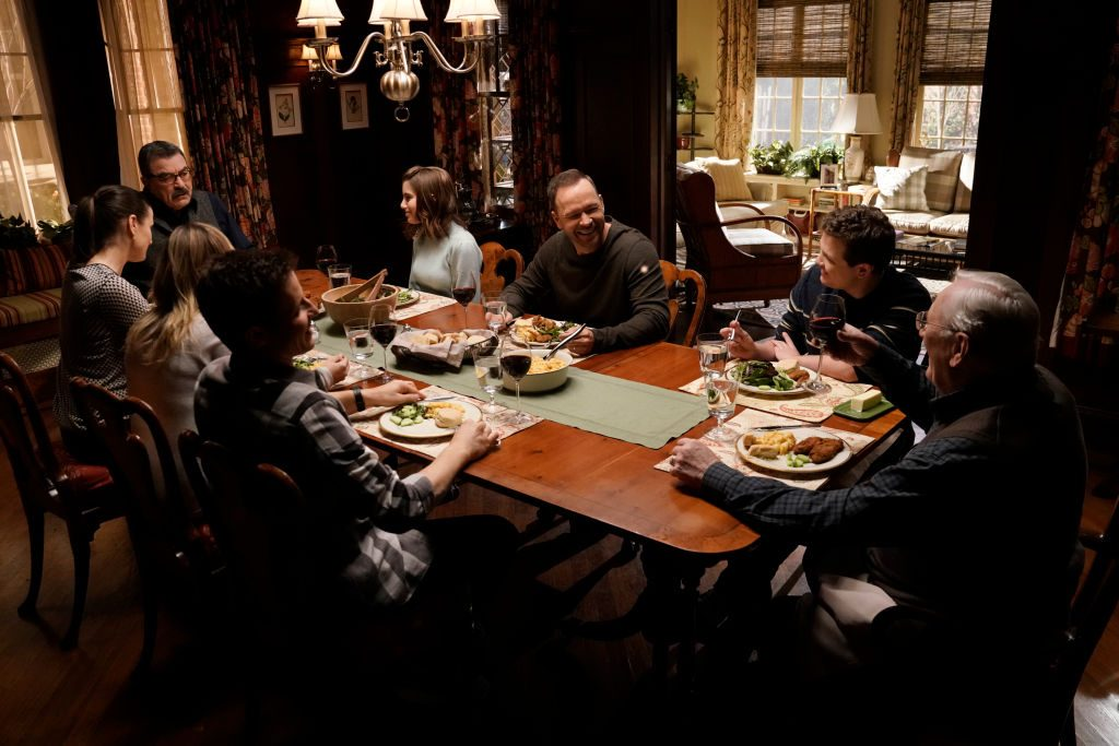 Len Cariou, Will Estes, Vanessa Ray, Bridget Moynahan, Tom Selleck, Sami Gayle, Donnie Wahlberg, Andrew Terraciano on 'Blue Bloods'