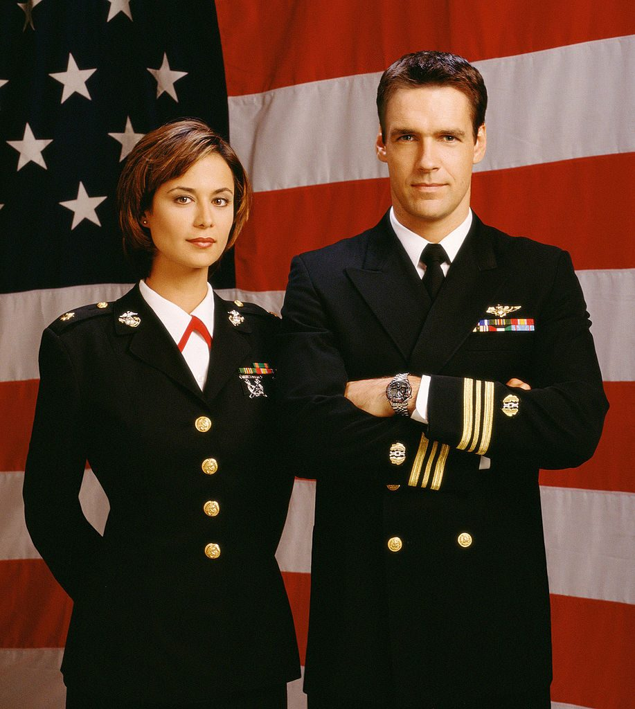 Catherine Bell and David James Elliott | CBS/Getty Images