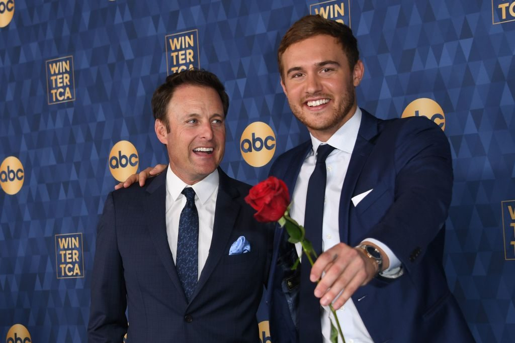 """Host of """"The Bachelor"""" Chris Harrison (L) and Star of """"The Bachelor"""" season 24 Peter Weber attend ABC's Winter TCA 2020 Press Tour in Pasadena, California, on January 8, 2020."""
