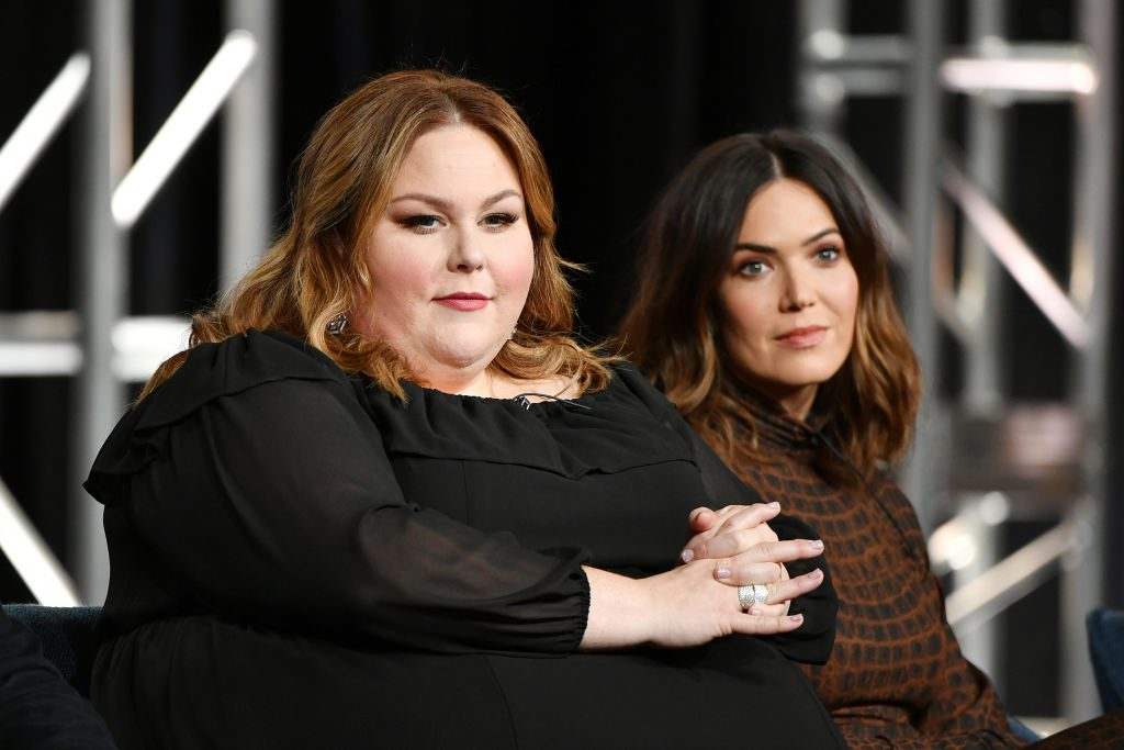 """Chrissy Metz and Mandy Moore of """"This Is Us"""" speak during the NBCUniversal segment of the 2020 Winter TCA Press Tour at The Langham Huntington, Pasadena on January 11, 2020 in Pasadena, California."""