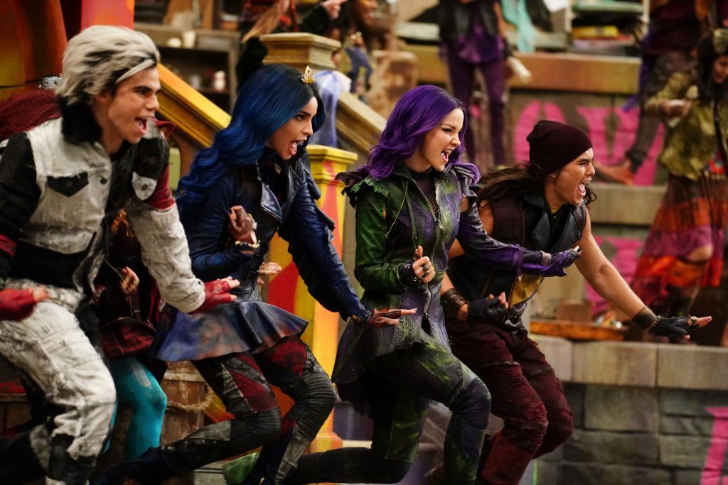 Characters Carlos, Evie, Mal, and Jay of Disney Channel's 'Descendants 3'