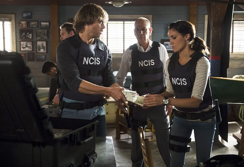 Eric Christian Olsen, Miguel Ferrer and Daniela Ruah on NCIS: Los Angeles |  Neil Jacobs/CBS via Getty Images