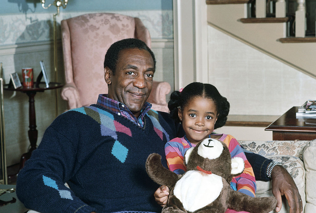 Bill Cosby as Dr. Heathcliff Huxtable and Keshia Knight Pulliam as Rudy Huxtable of 'The Cosby Show