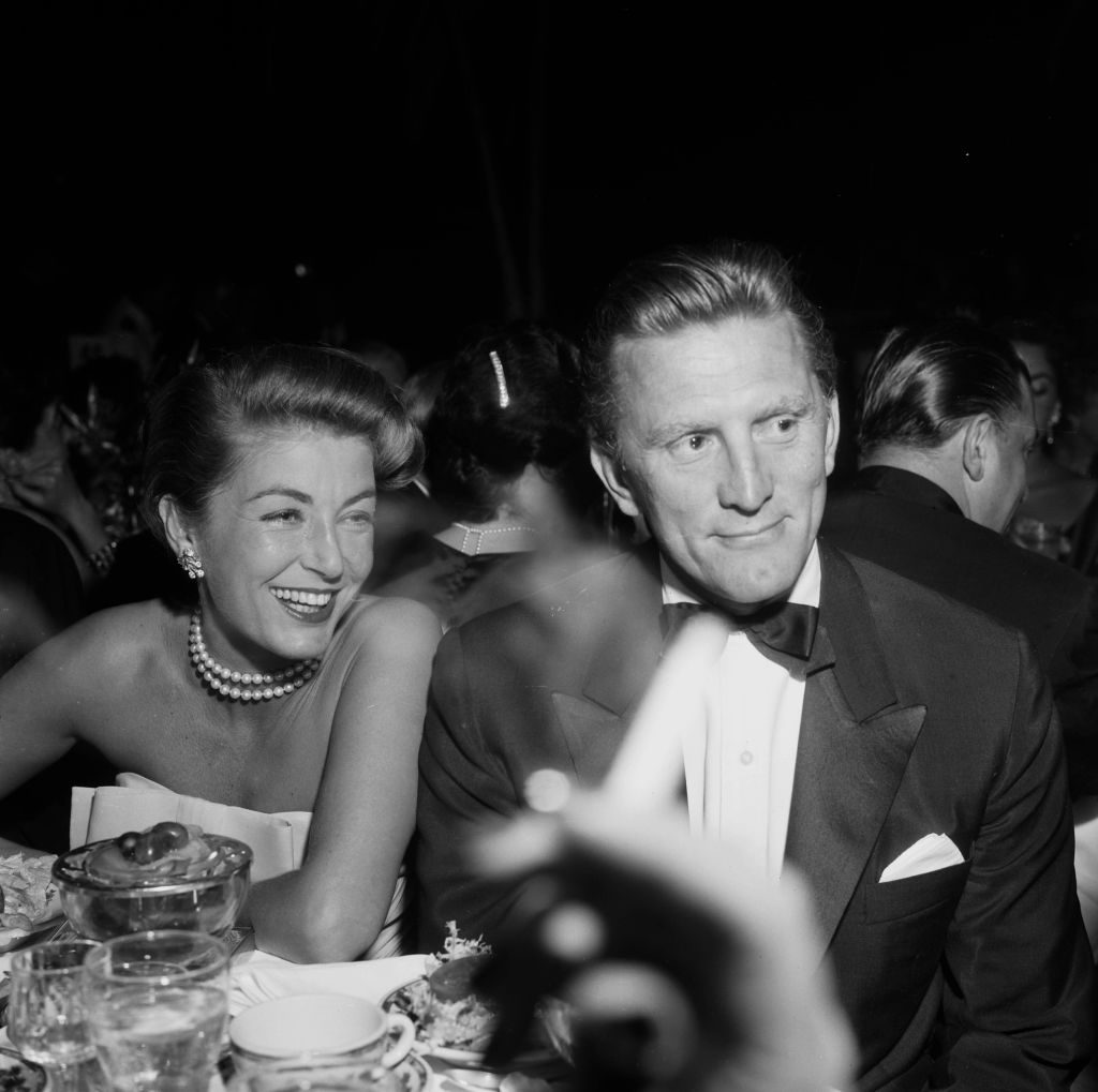 Actor Kirk Douglas with wife Anne Buydens in 1957