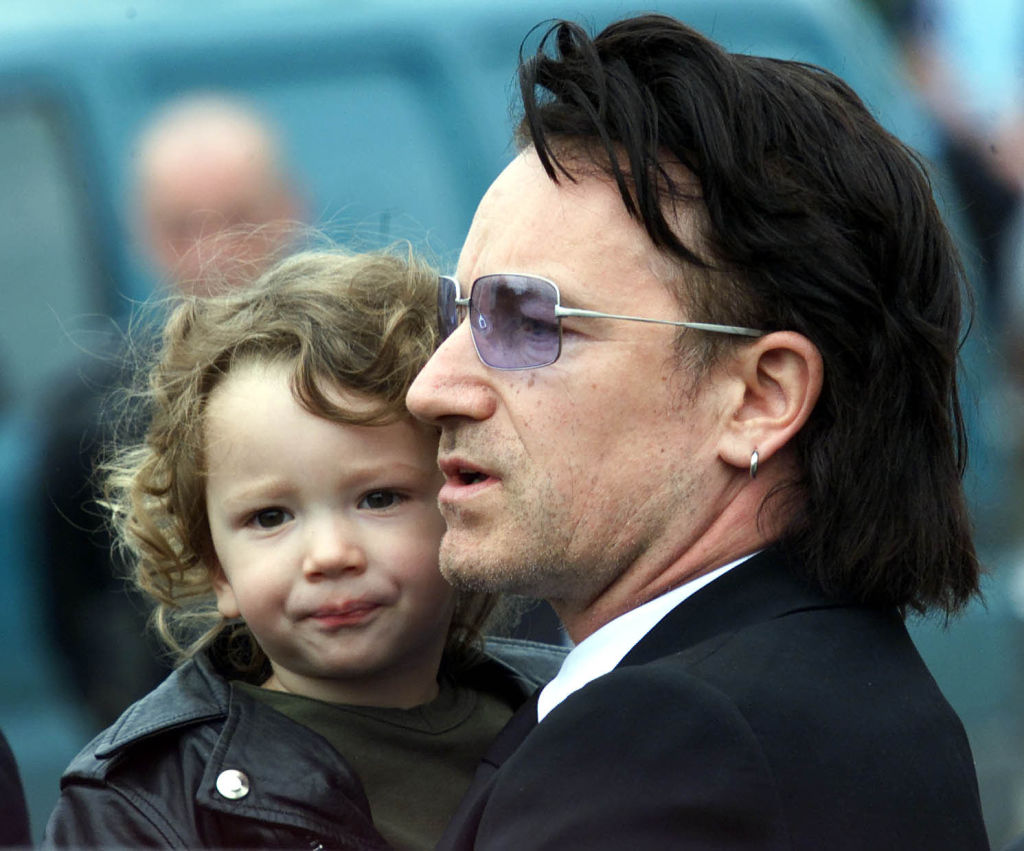 Bono with his then-2-year-old son, Elijah in 2001