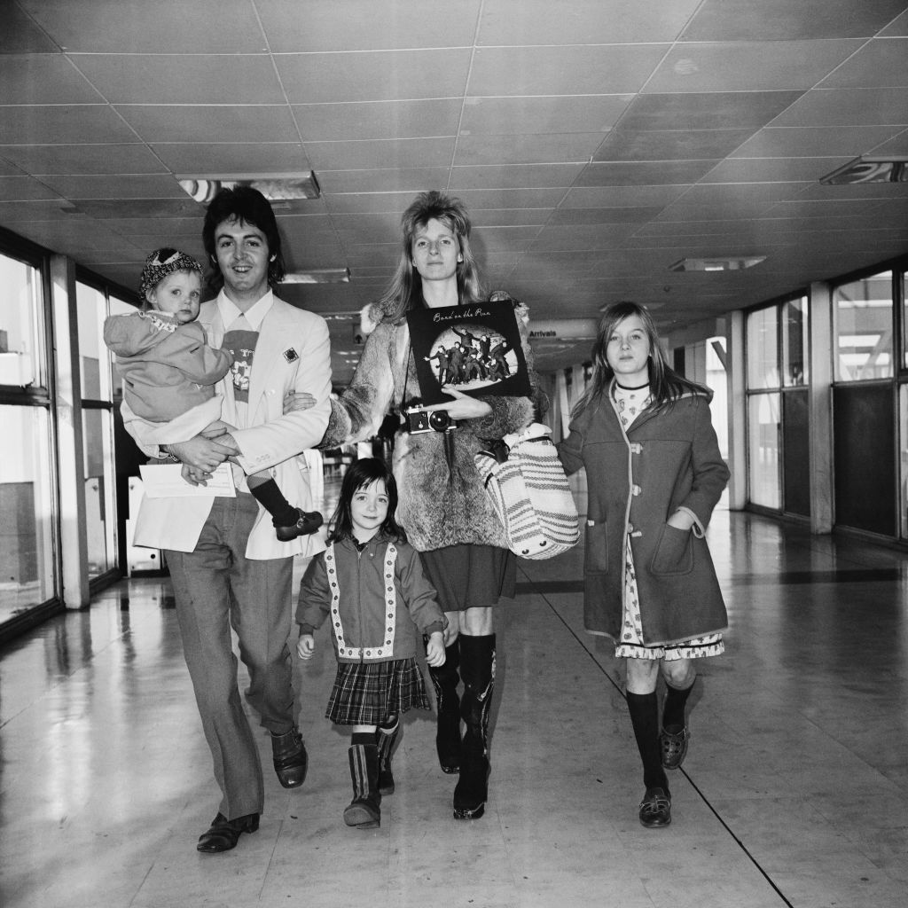 Paul and Linda McCartney and family in 1973