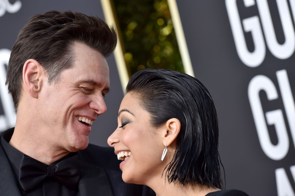 Jim Carrey and Ginger Gonzaga attend the 76th Annual Golden Globe Awards
