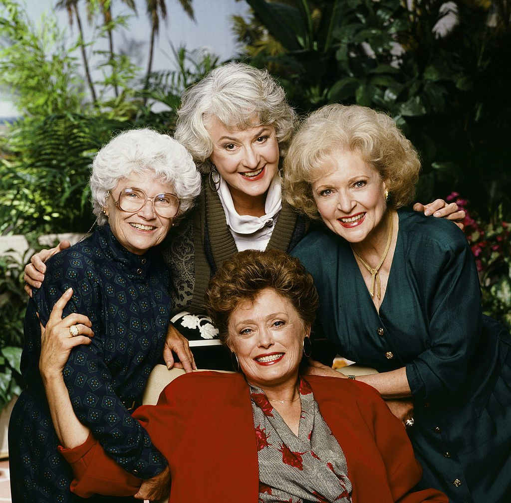 Estelle Getty as Sophia Petrillo, Bea Arthur as Dorothy Petrillo Zbornak, Betty White as Rose Nylund and Rue McClanahan as Blanche Devereaux