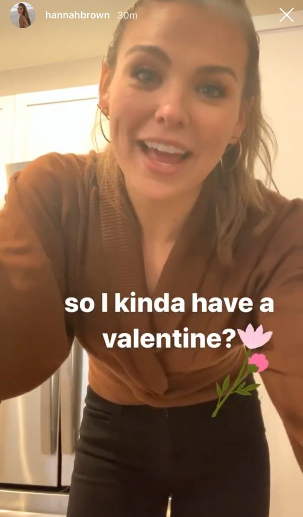 Hannah Brown Instagram Story about Valentine's Day 2020