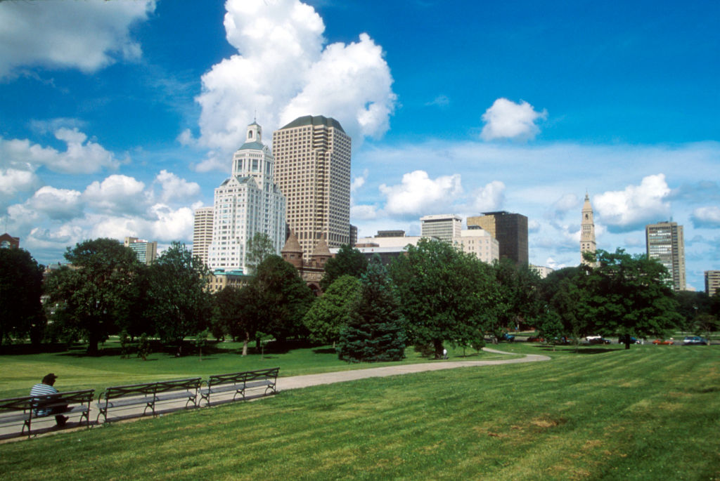 A park and city skyline is seen June 9, 1996, in Hartford, Ct.