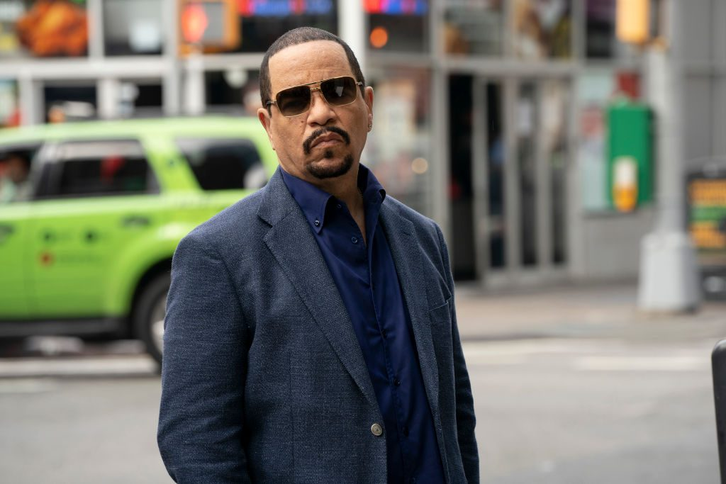 Ice-T in sunglasses on set of Law and Order: SVU
