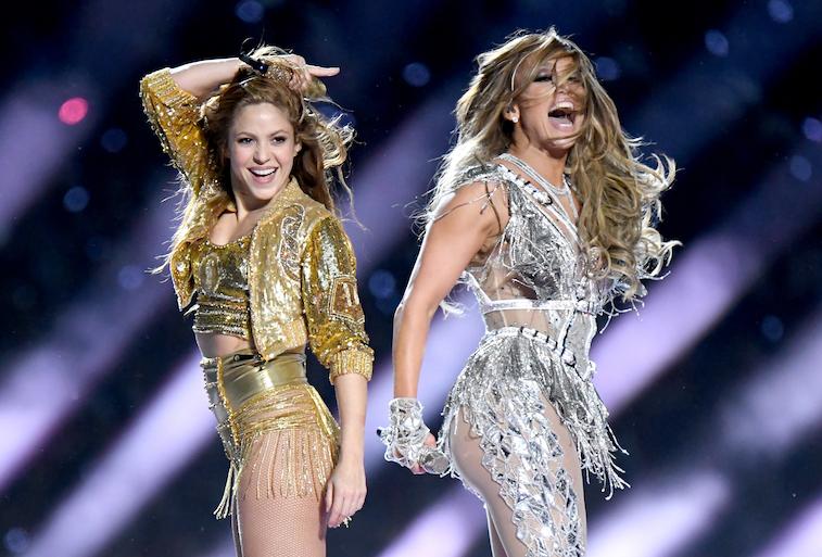 Jennifer Lopez and Shakira perform onstage