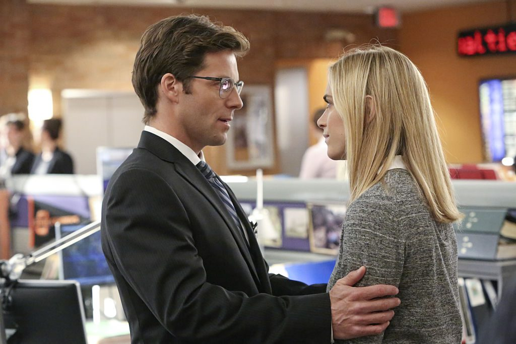 Jamie Bamber and Emily Wickersham as Jake and Bishop | Patrick McElhenney/CBS via Getty Images
