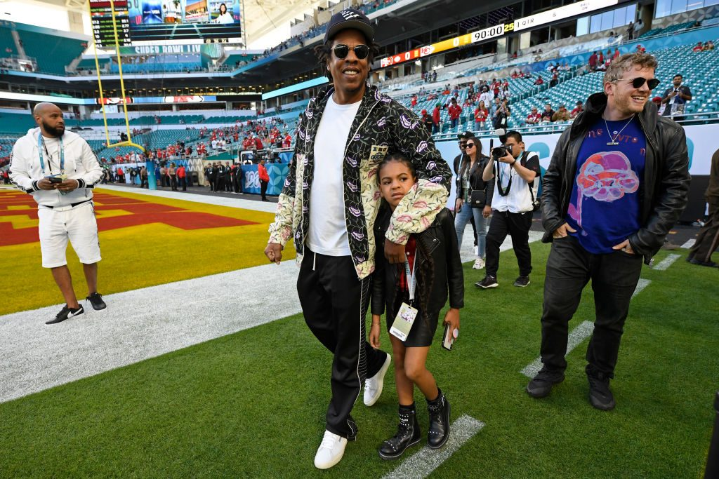 Jay-Z and his eldest daughter Blue Ivy Carter at Super Bowl LIV on Feb. 2, 2020