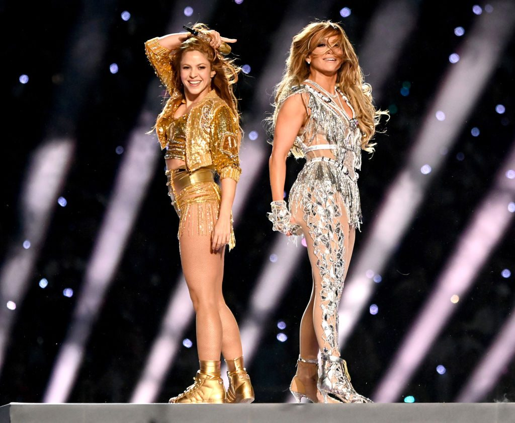 Shakira and Jennifer Lopez perform  onstage during the Pepsi Super Bowl LIV Halftime Show.