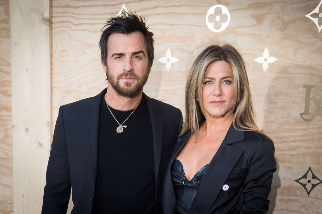Justin Theroux and Jennifer Aniston attend the Louis Vuitton's Dinner for the Launch of Bags by Artist Jeff Koons at Musee du Louvre