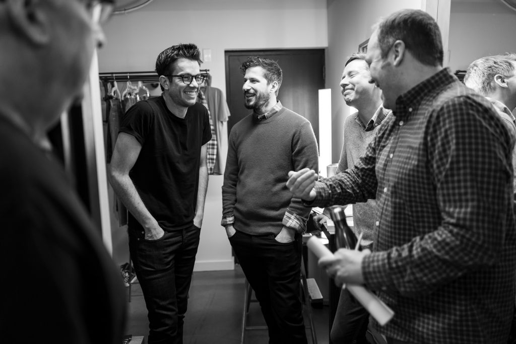 John Mulaney, Andy Samberg, Rob Klein and John Lutz backstage on February 4, 2020