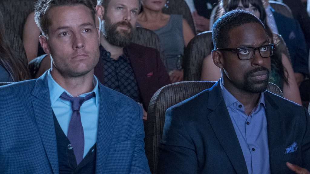 Justin Hartley as Kevin Pearson and Sterling K Brown as Randall Pearson This Is Us