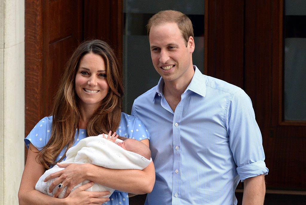 Kate Middleton, Prince William, and their newborn son, Prince George of Cambridge leave the Lindo Wing of St Mary's hospital on July 23, 2013