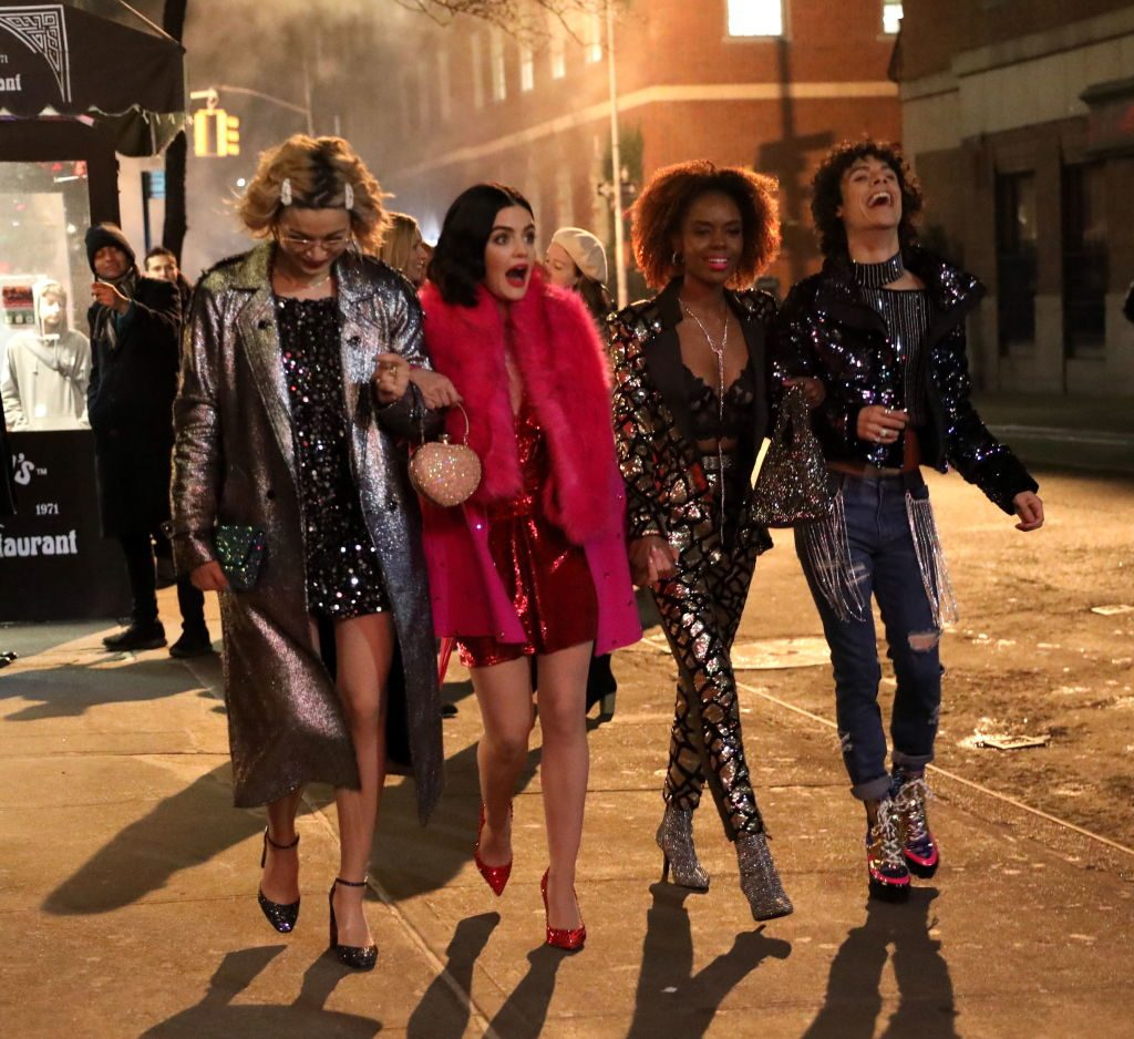 Julia Chan, Lucy Hale, Ashleigh Murray and Jonny Beauchamp are seen filming a scene on the set of 'Katy Keene' on January 30, 2020 in New York City