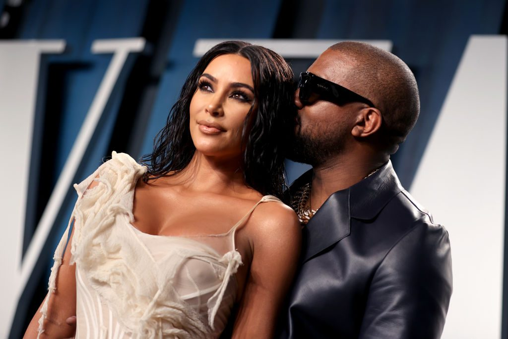 Kim Kardashian West and Kanye West attend the 2020 Vanity Fair Oscar Party