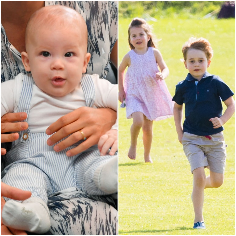 (L) Archie Harrison, (R) Princess Charlotte and Prince George
