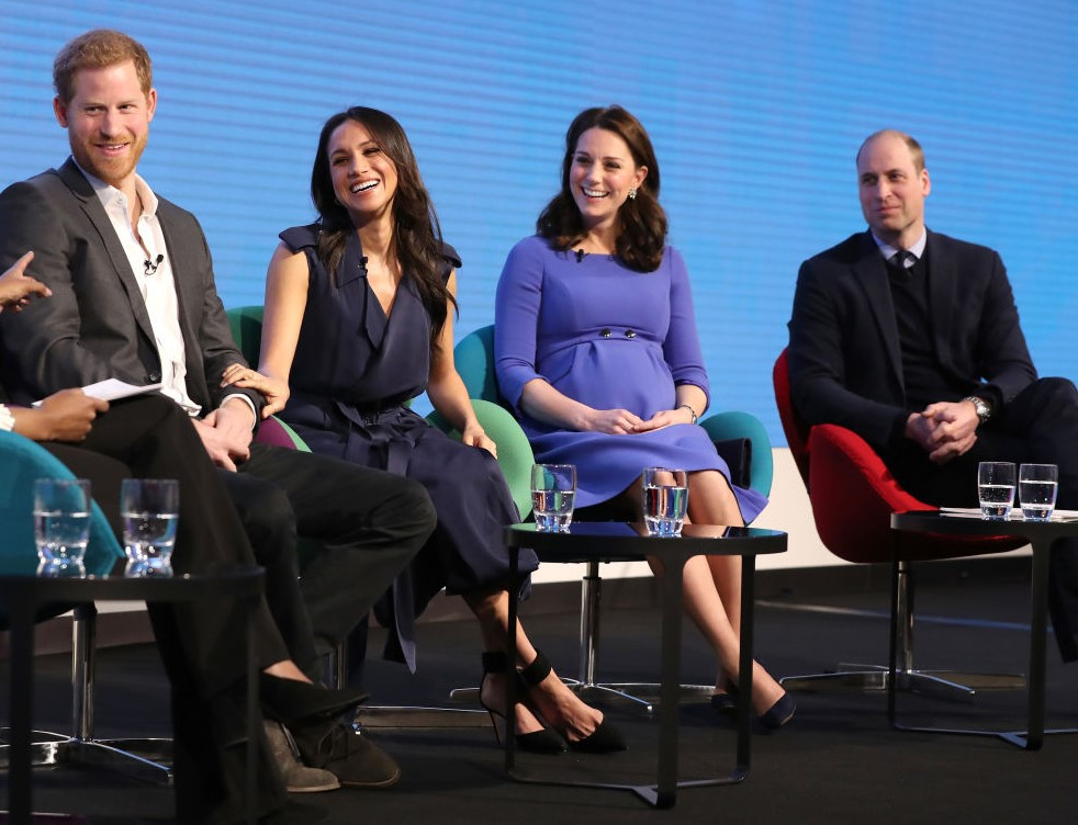 (L-R) Prince Harry, Meghan Markle, Kate Middleton, and Prince William