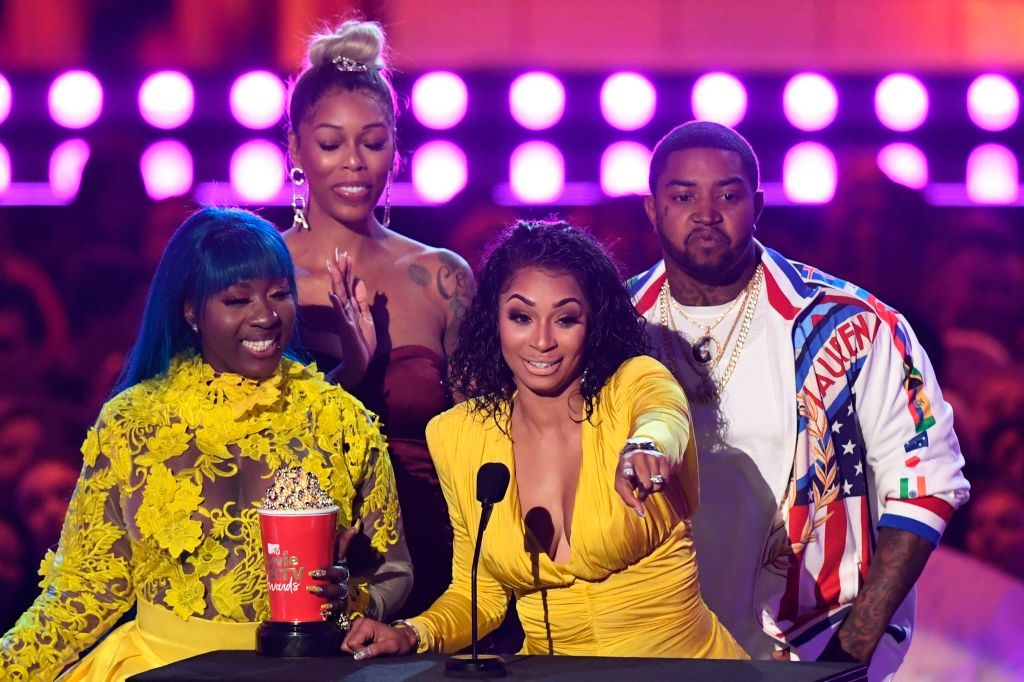 """The cast of """"Love & Hip Hop: Atlanta"""" accept their award for Reality Royalty onstage during the 2019 MTV Movie & TV Awards at the Barker Hangar in Santa Monica on June 15, 2019"""