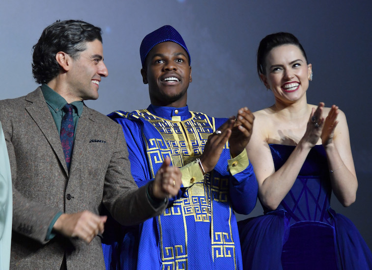 Oscar Isaac, John Boyega and Daisy Ridley