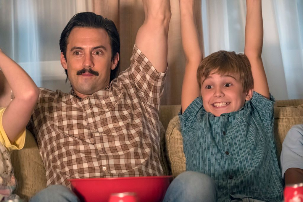 Parker Bates as Kevin Pearson and Milo Ventimiglia as Jack on 'This Is Us' - Season 2