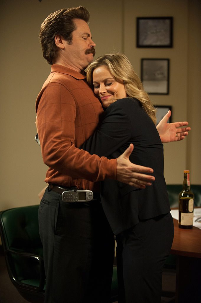 Nick Offerman as Ron Swanson, Amy Poehler as Leslie Knope